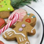 vegan gingerbread cookies - a gingerbread man on a plate