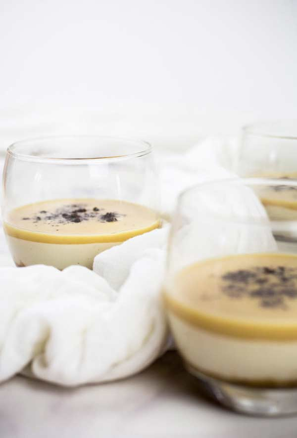 close up of salted caramel pots