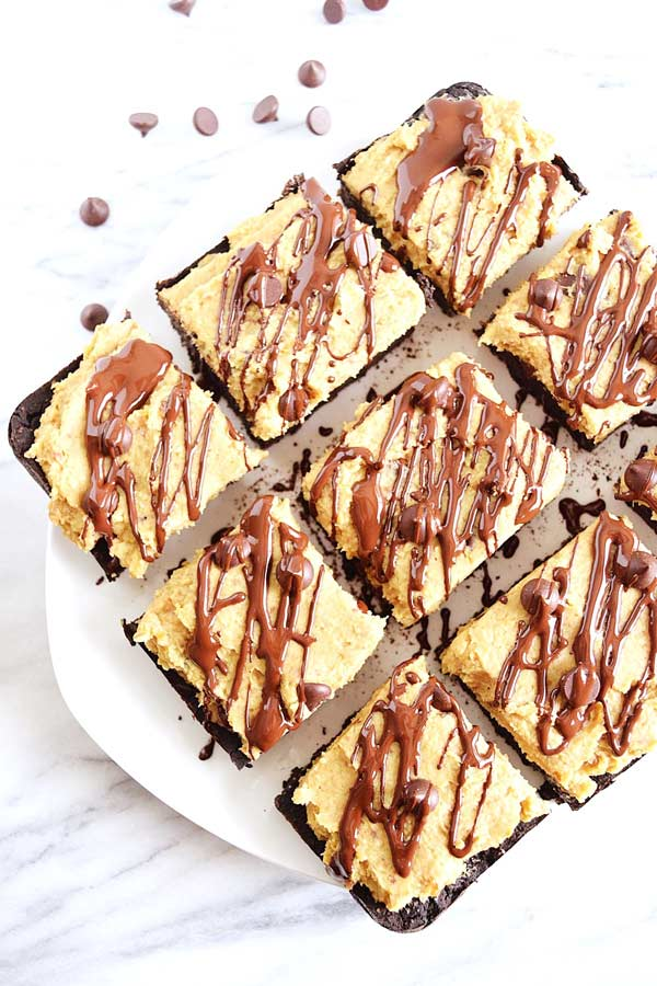 squares of cookie dough brownies