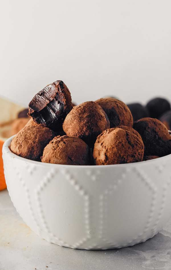 a bowl full of chocolate orange truffles