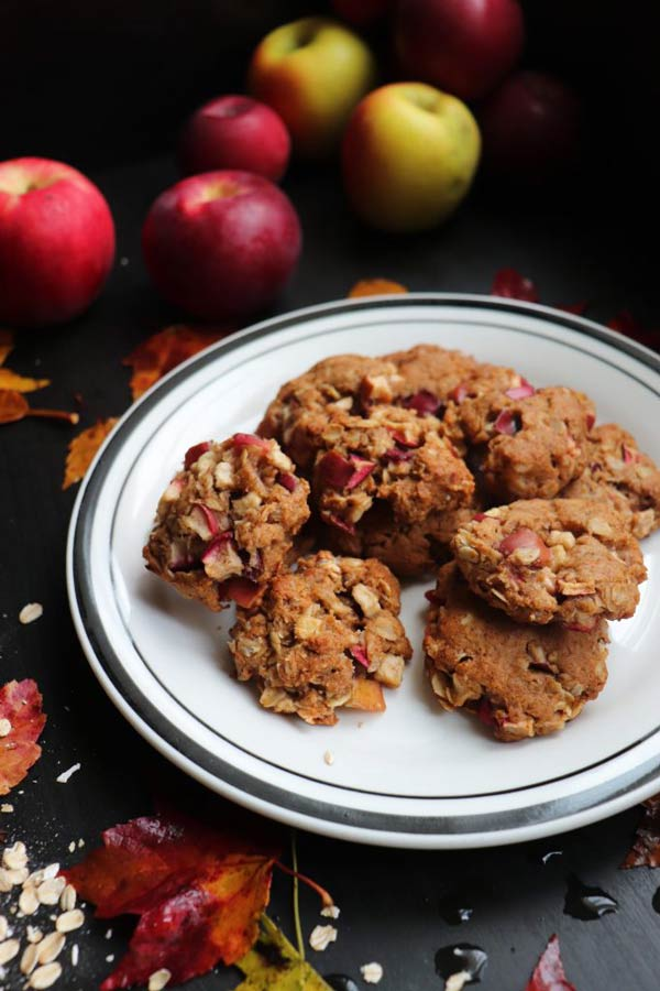 a plate of almond apple cookies