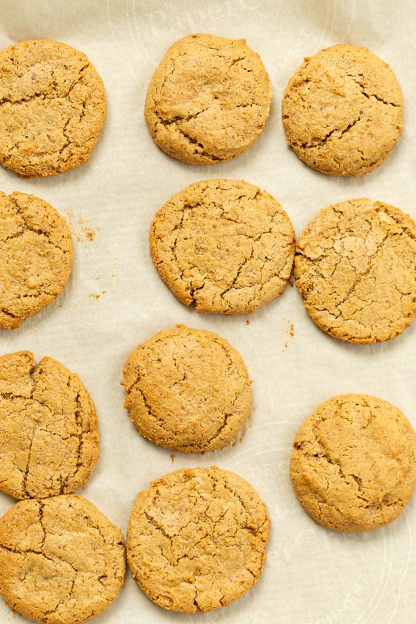 overhead shot of chai spice cookies on a tray