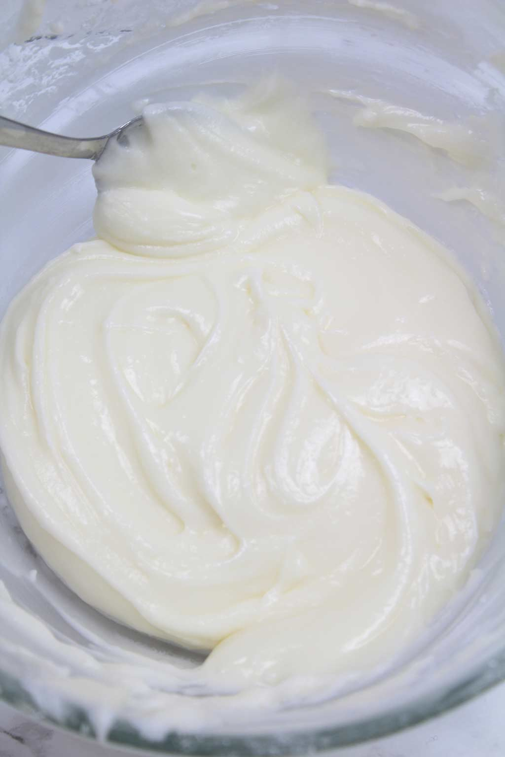 vegan cream cheese frosting in a bowl