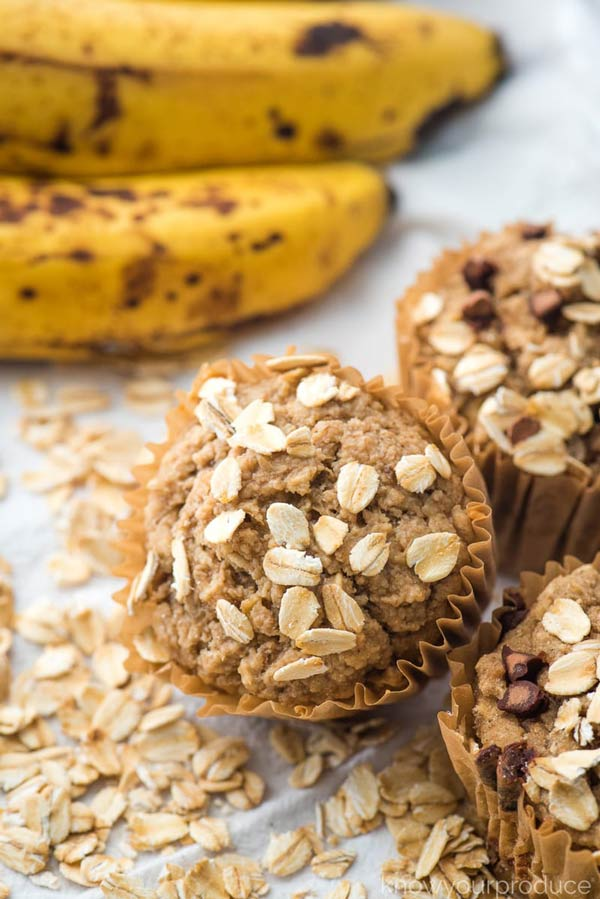 banana muffins with oats on top