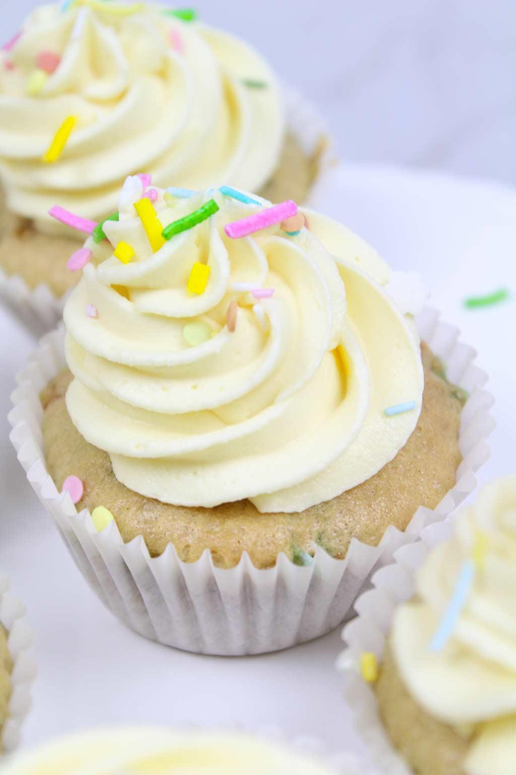 3 funfetti cupcakes in a row