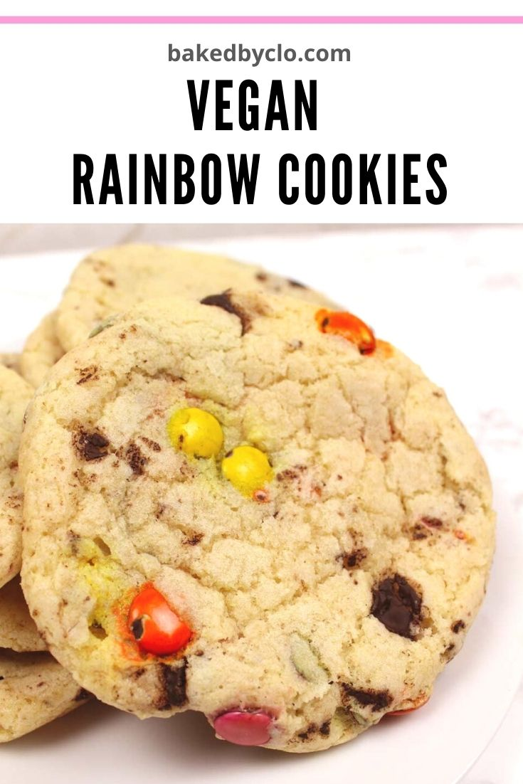 Pinterest pin- vegan rainbow cookies