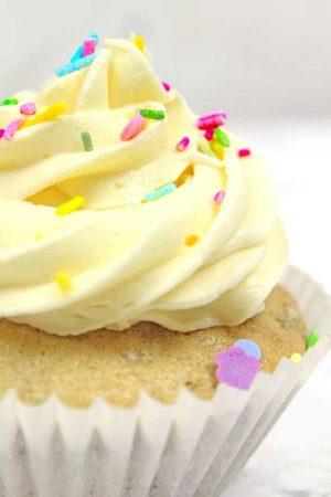 close up of vegan funfetti cupcake