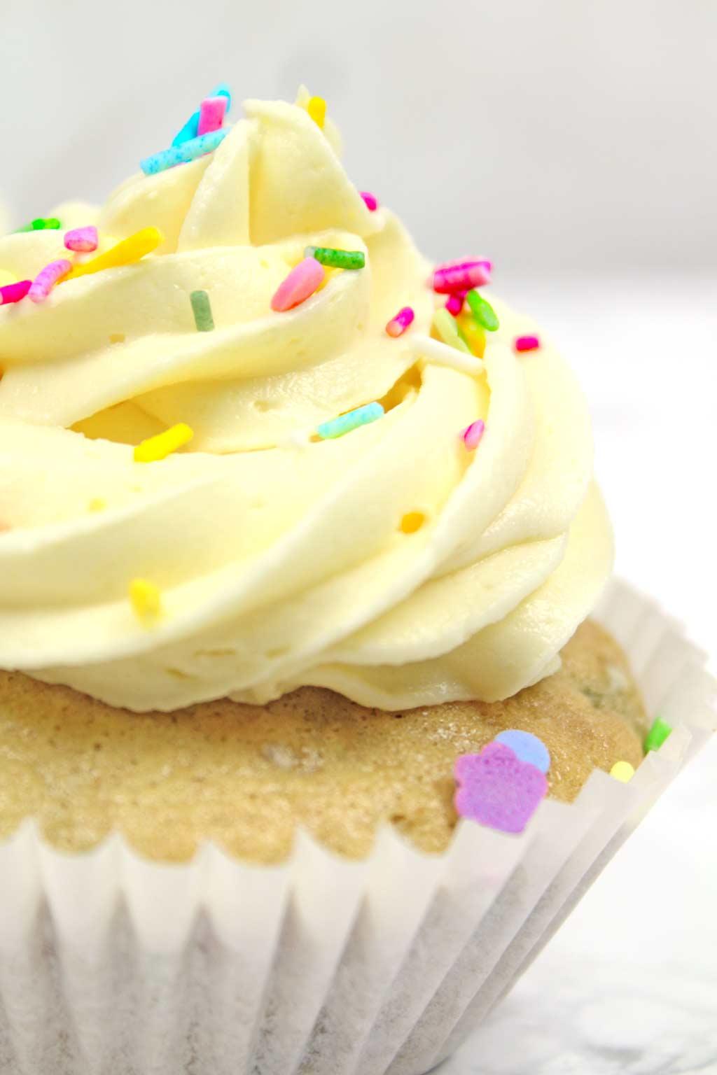 close up of a vegan funfetti cupcake