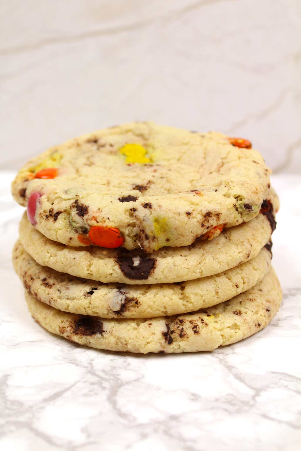 stack of rainbow chip cookies