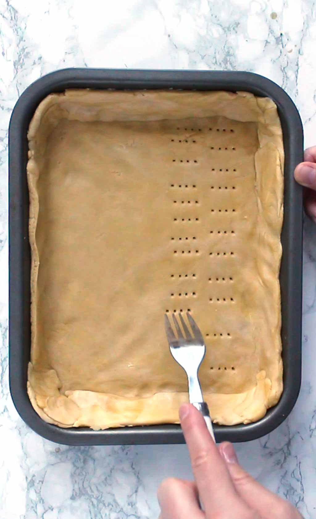Docking the pastry with a fork