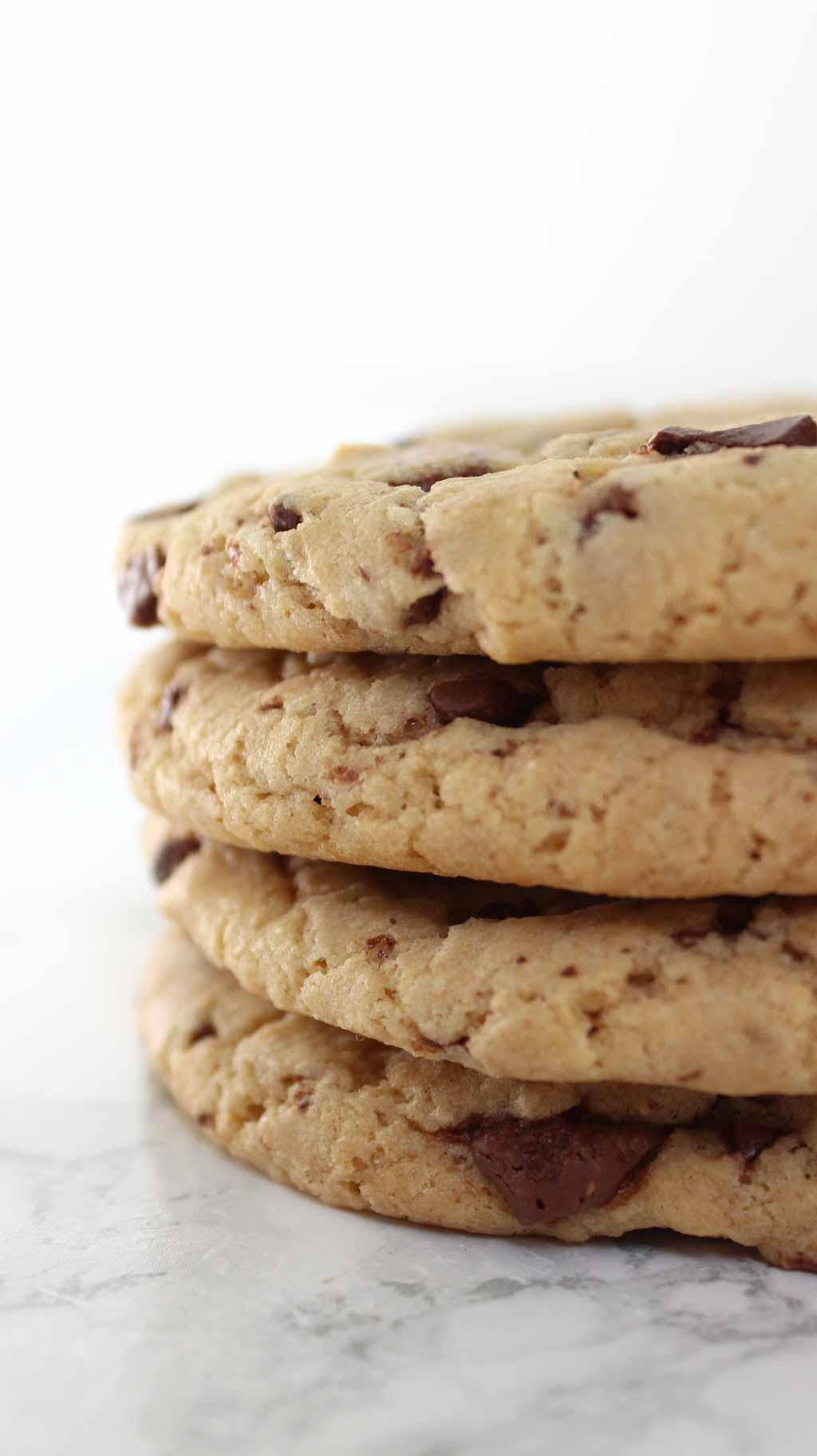Stack Of 4 vegan milk chocolate chip Cookies