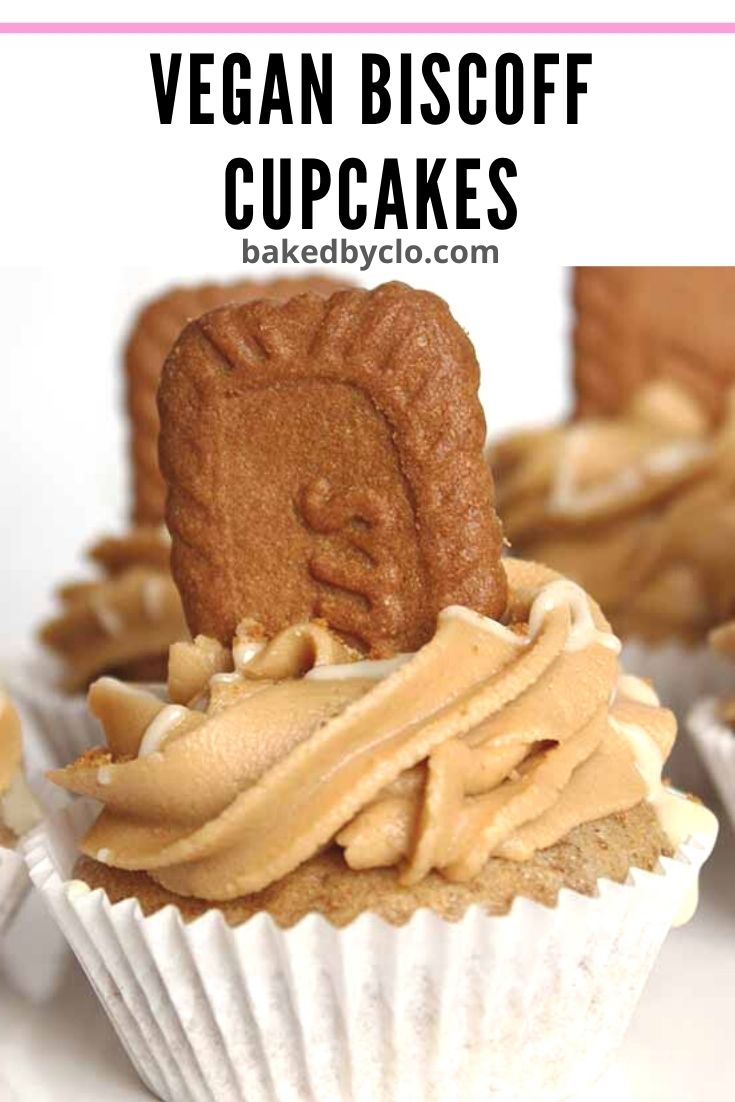 Pinterest pin for Vegan Biscoff cupcakes