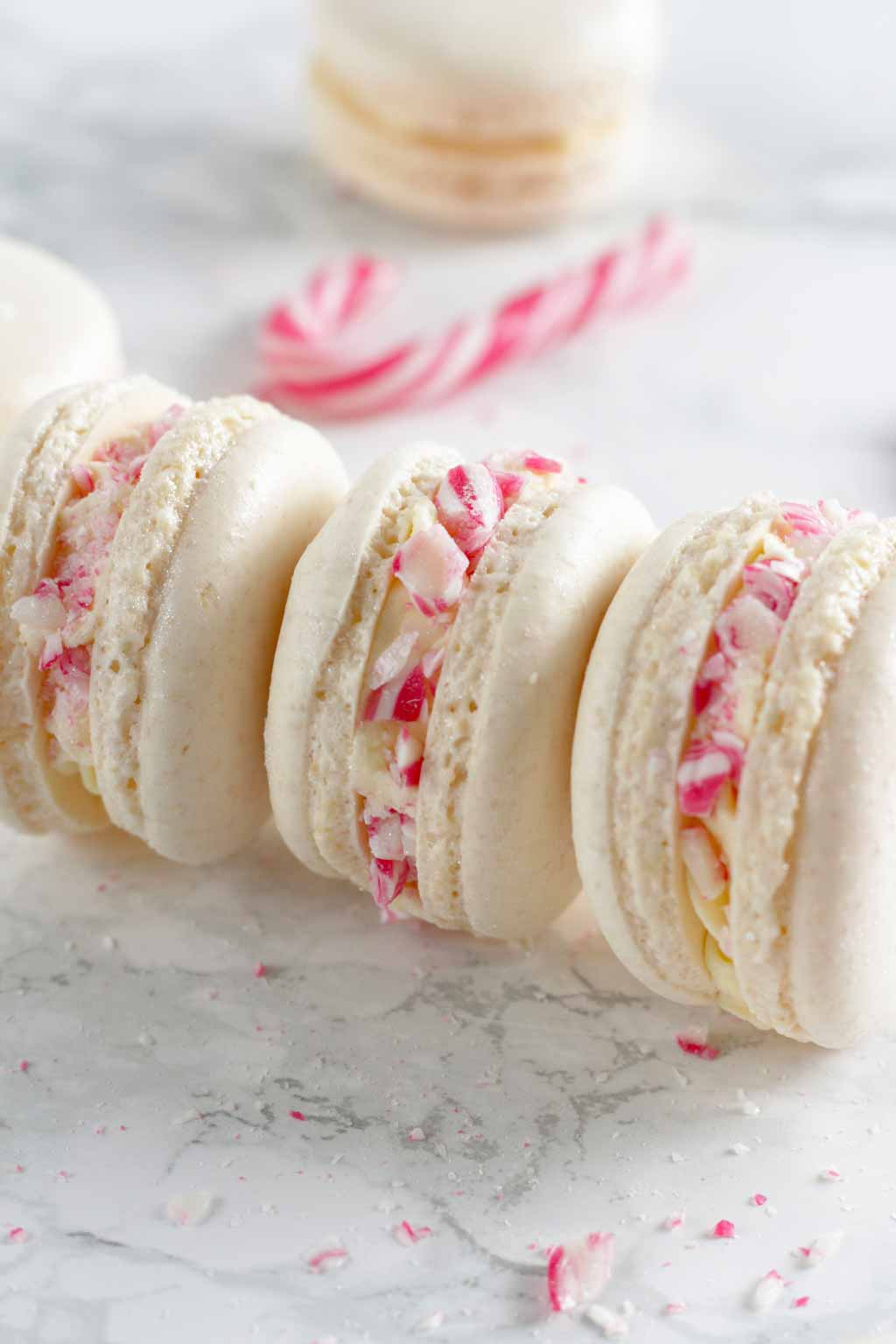 3 Macarons Lying On Their Sides