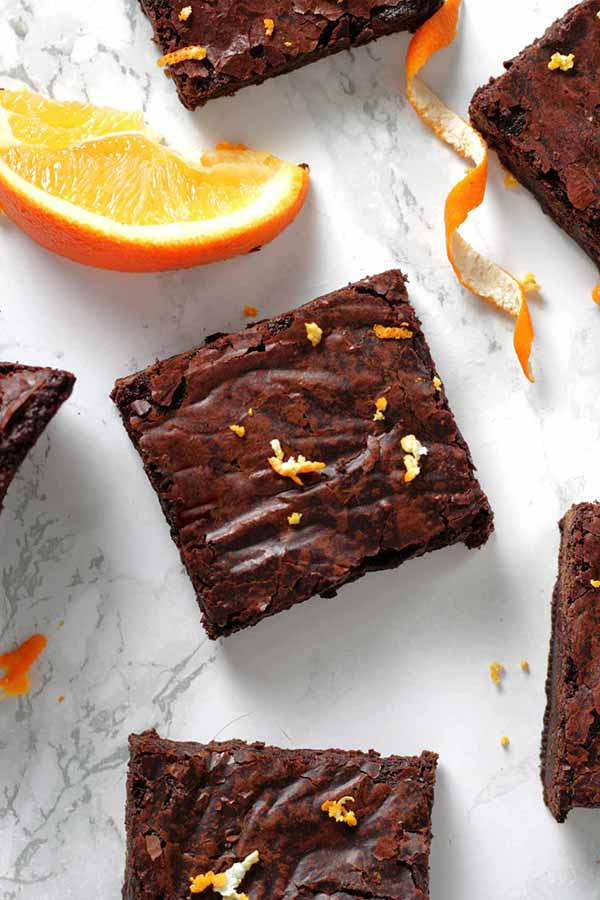 Thumbnail Overhead Shot Of Vegan Chocolate Orange Brownies