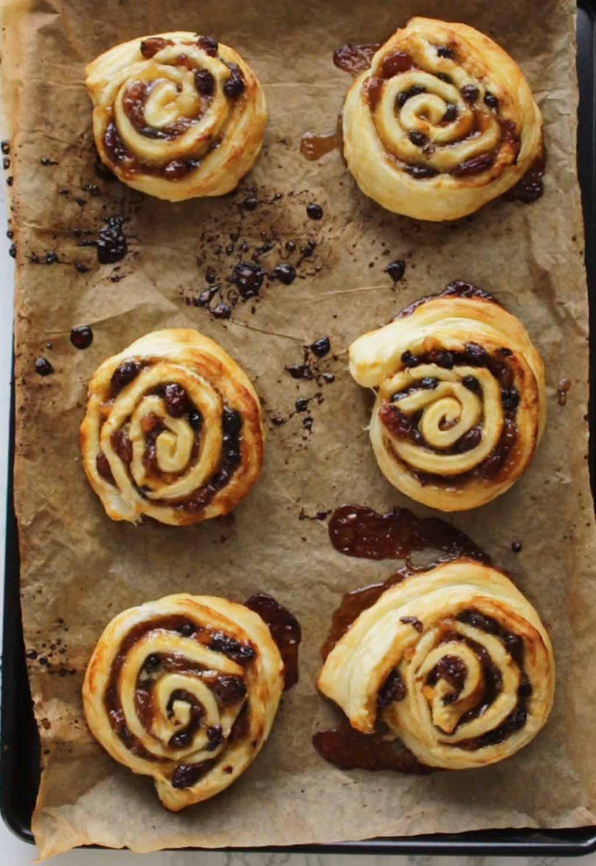 Pinwheels On Baking Tray After Baking