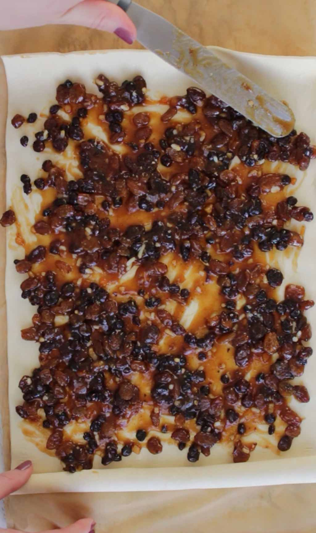 Spreading Mincemeat Over The Puff Pastry Sheet