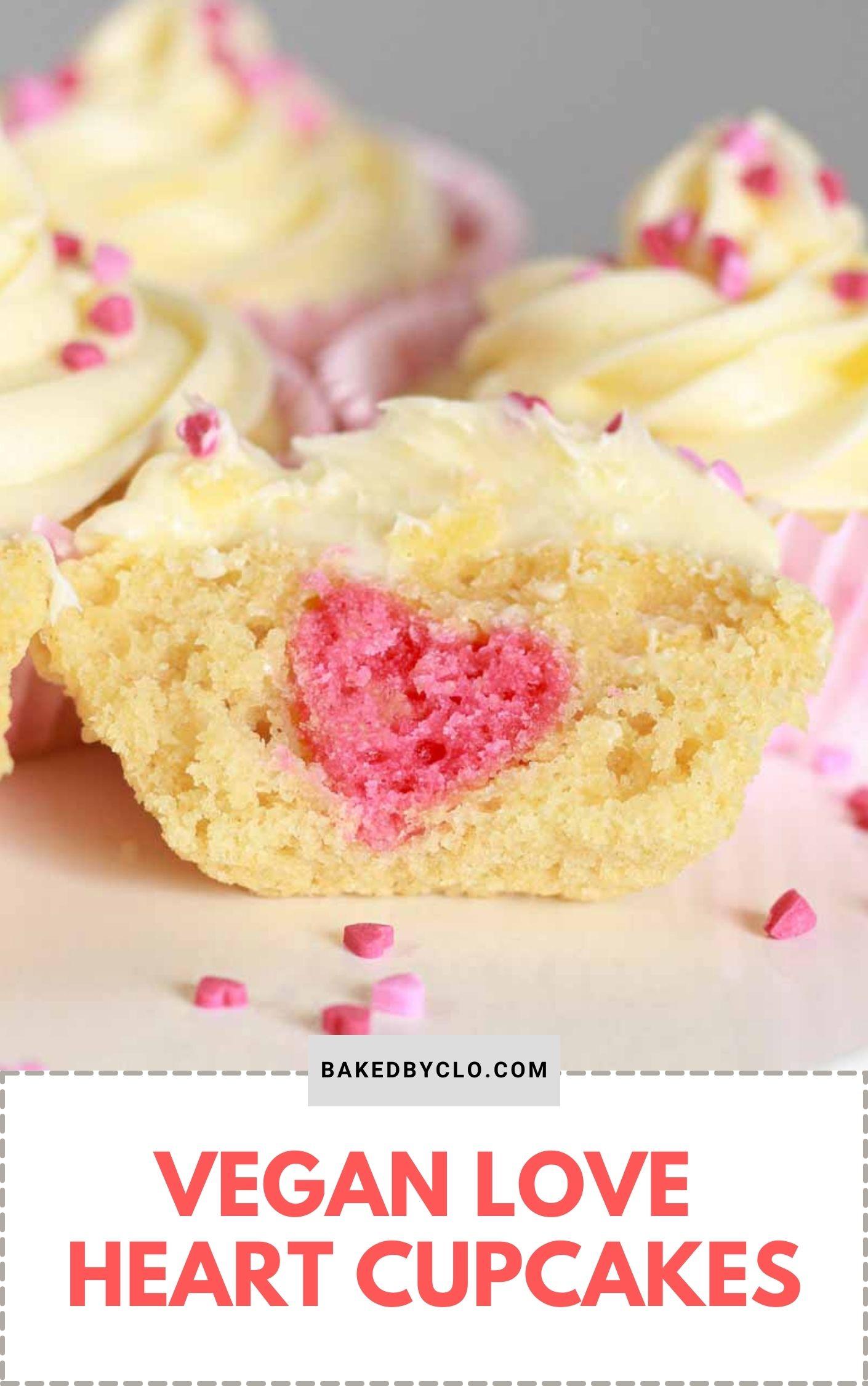 Pinterest pin of heart filled cupcake