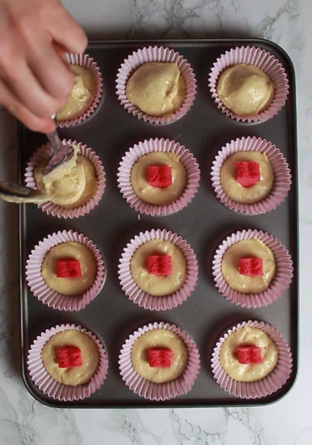Covering The Hearts In The Cake Mix