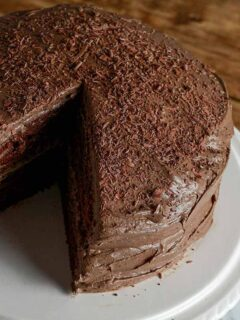 Thumbnail image of fudge cake with a slice missing