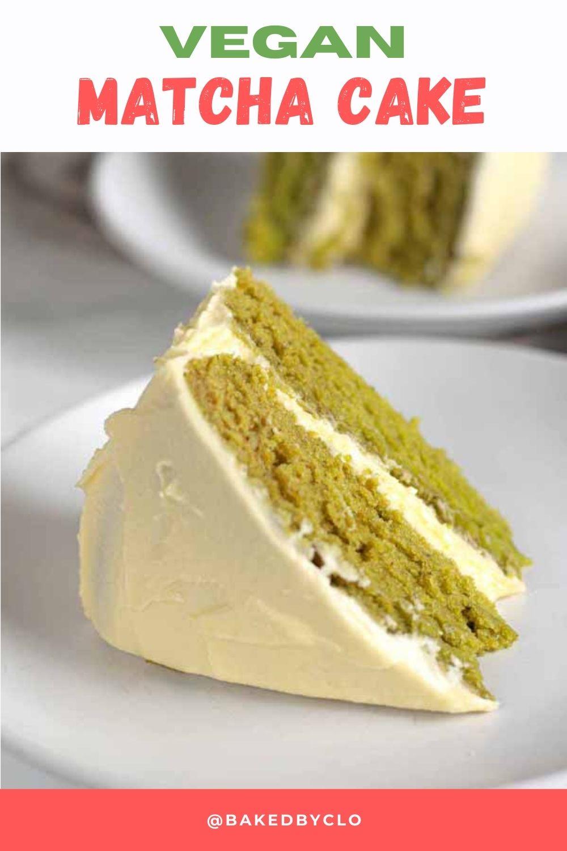 Pinterest pin of vegan matcha cake
