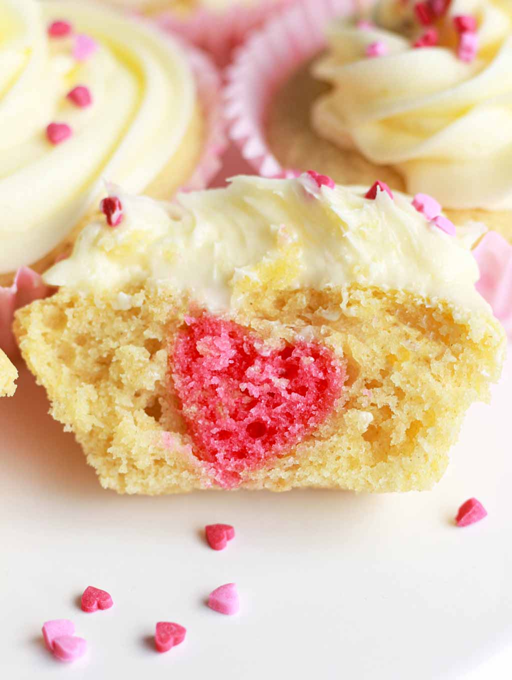Pink Love Heart Showing Inside Of Cupcakes