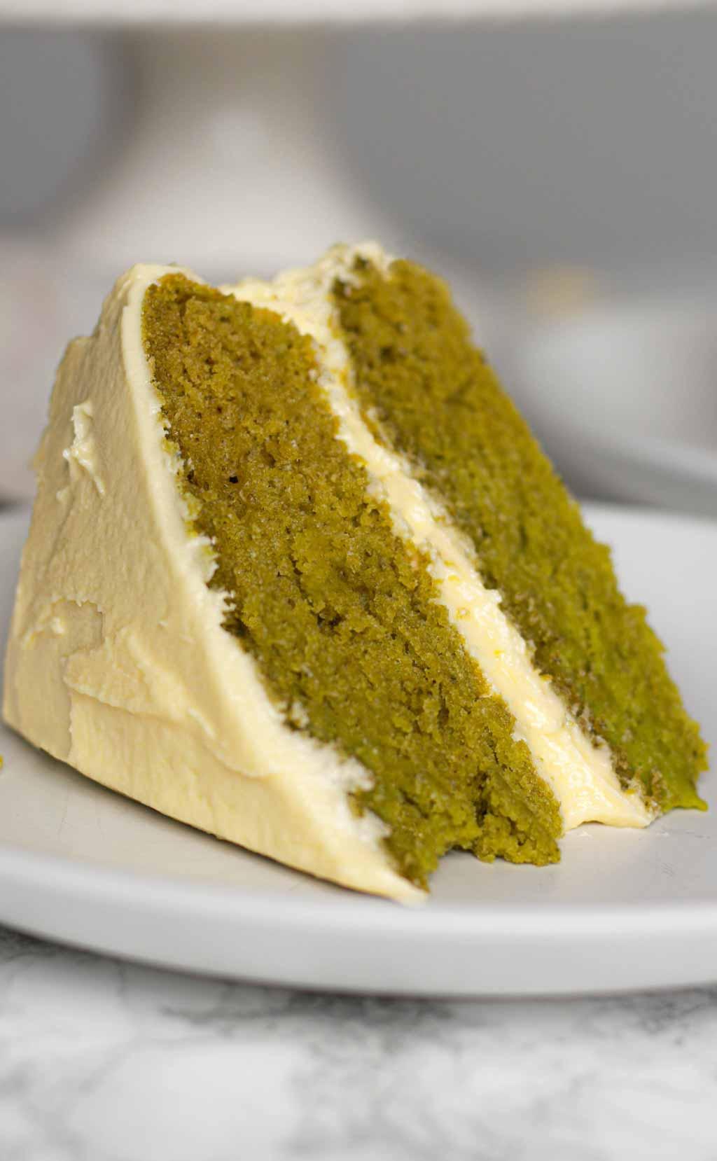 Slice Of Vegan Matcha Cake