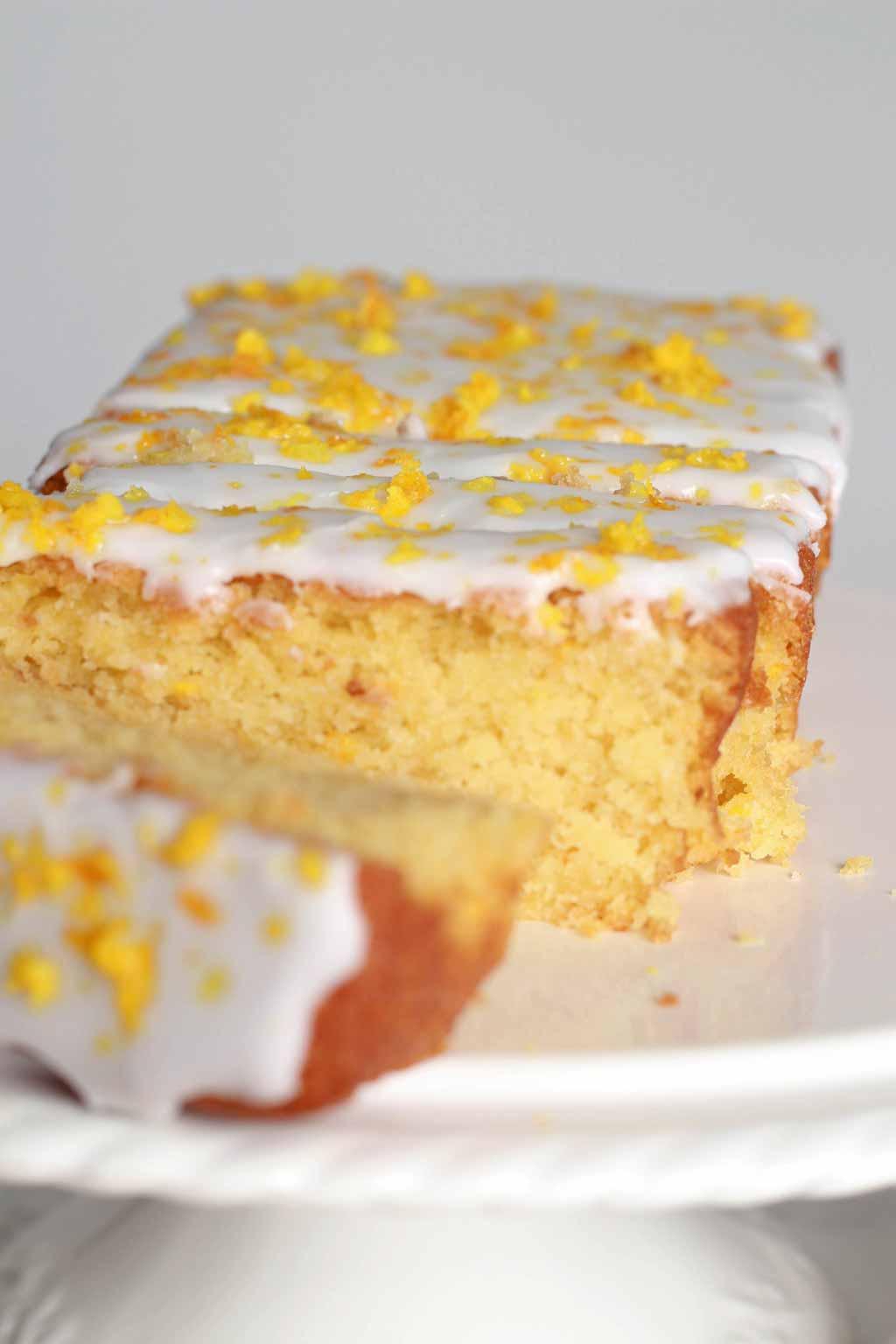 Sliced Loaf Cake On A Cake Stand