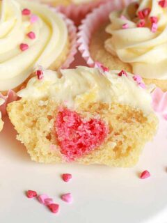 thumbnail image of a cupcake cut in half, showing a pink love heart baked inside
