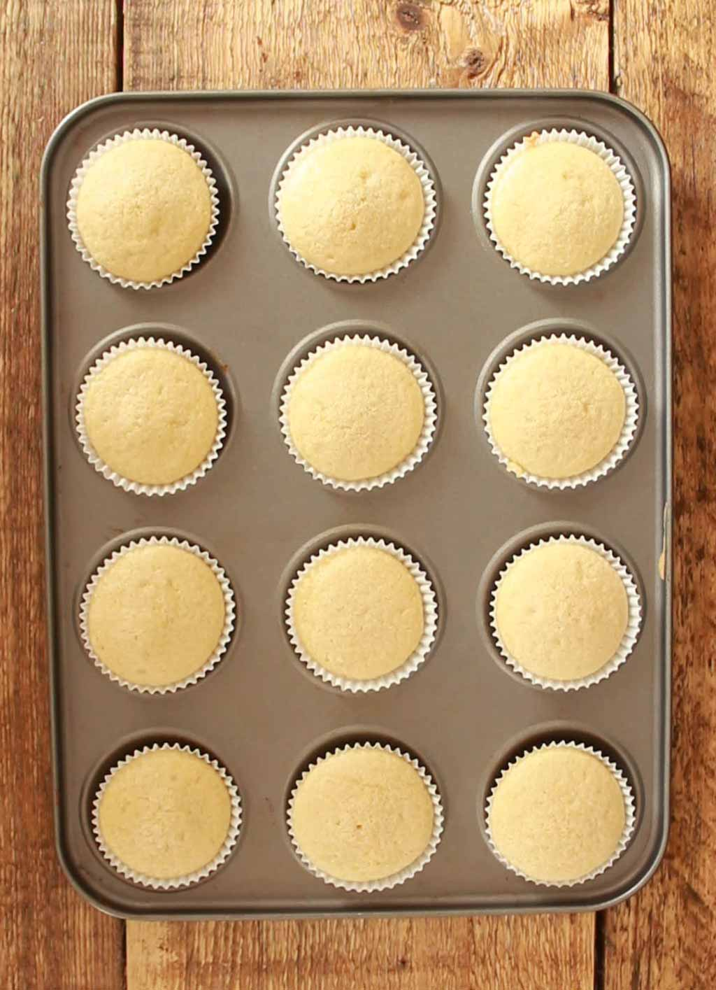 baked cupcakes in a tin