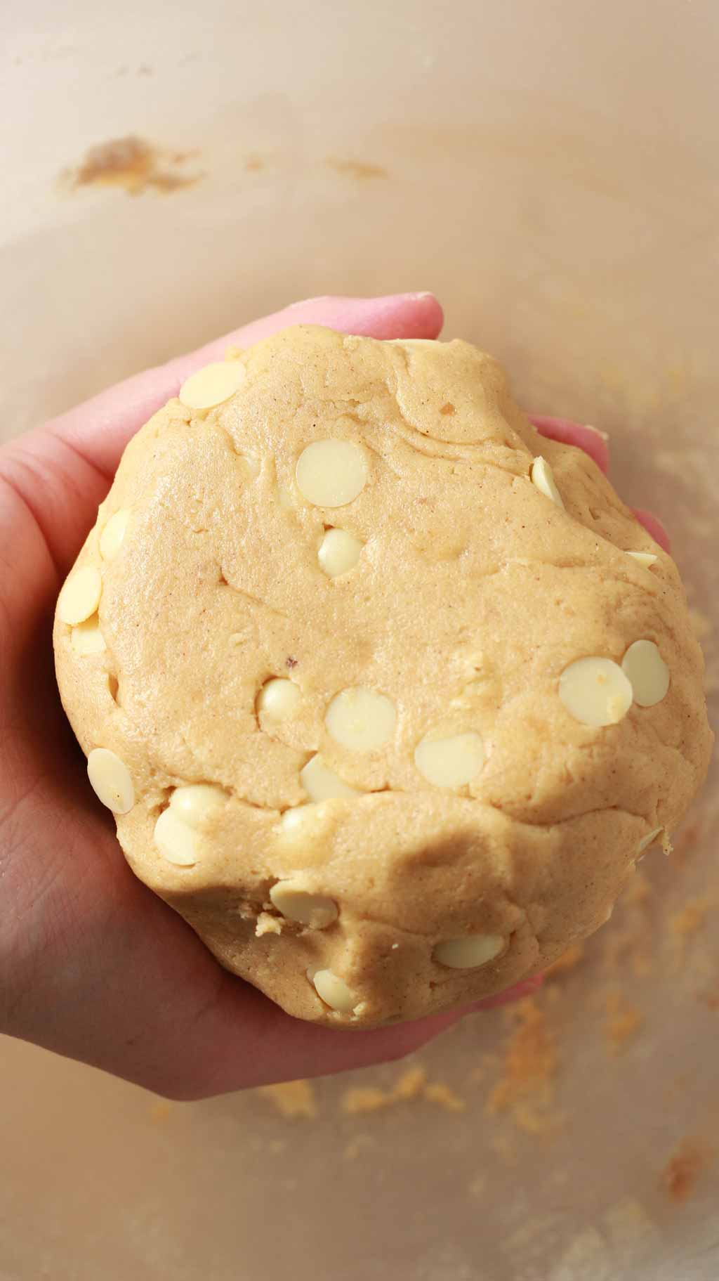 ball of biscoff chocolate chip cookie dough