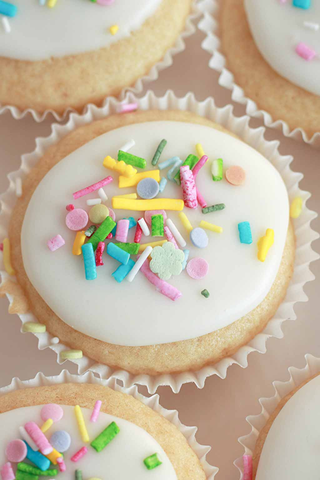 iced cake with sprinkles on top