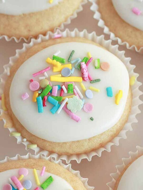 thumbnail image of a vegan fairy cake with sprinkles on top