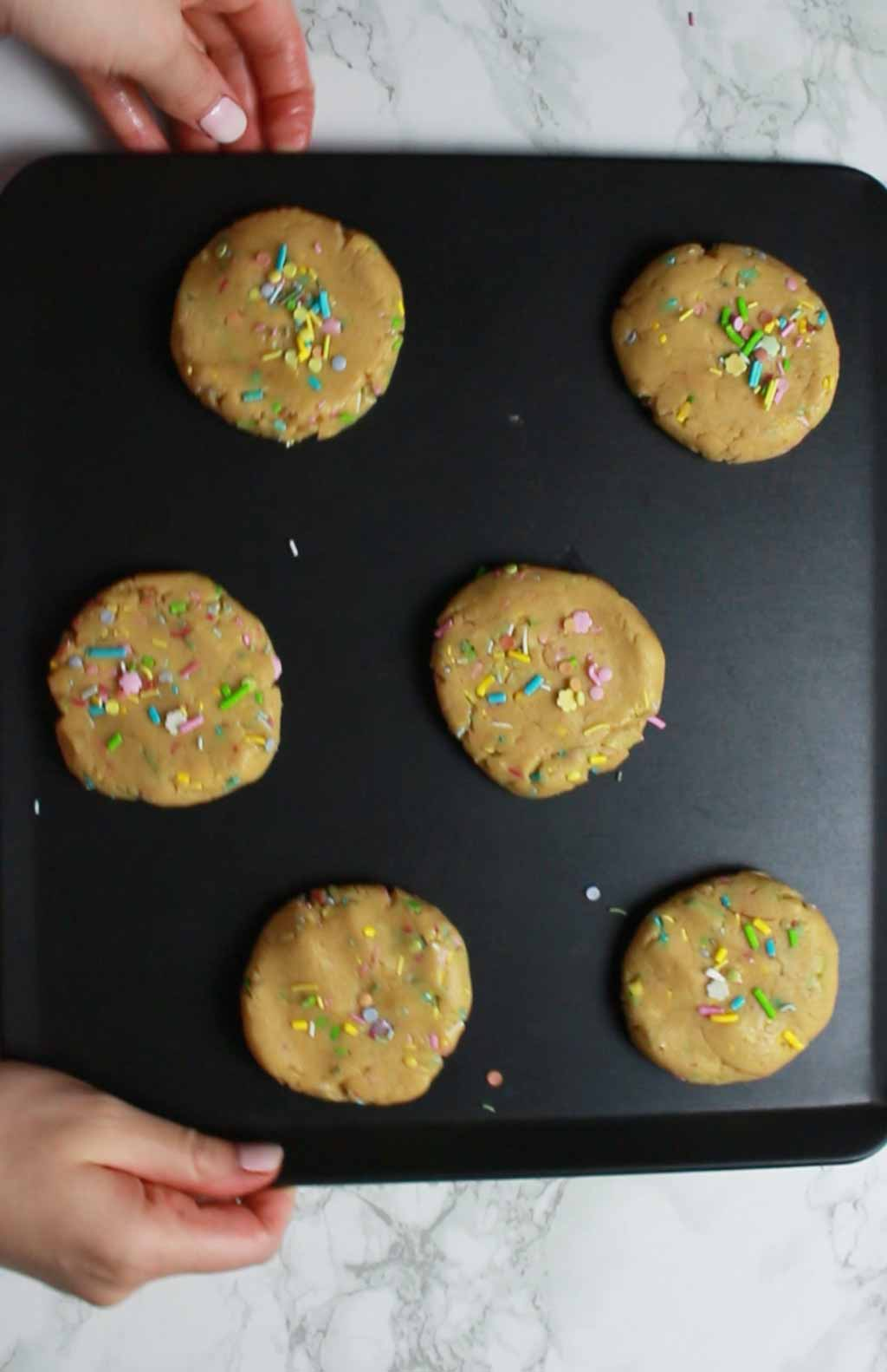 Funfetti Cookies On Tray Ready To Be Baked