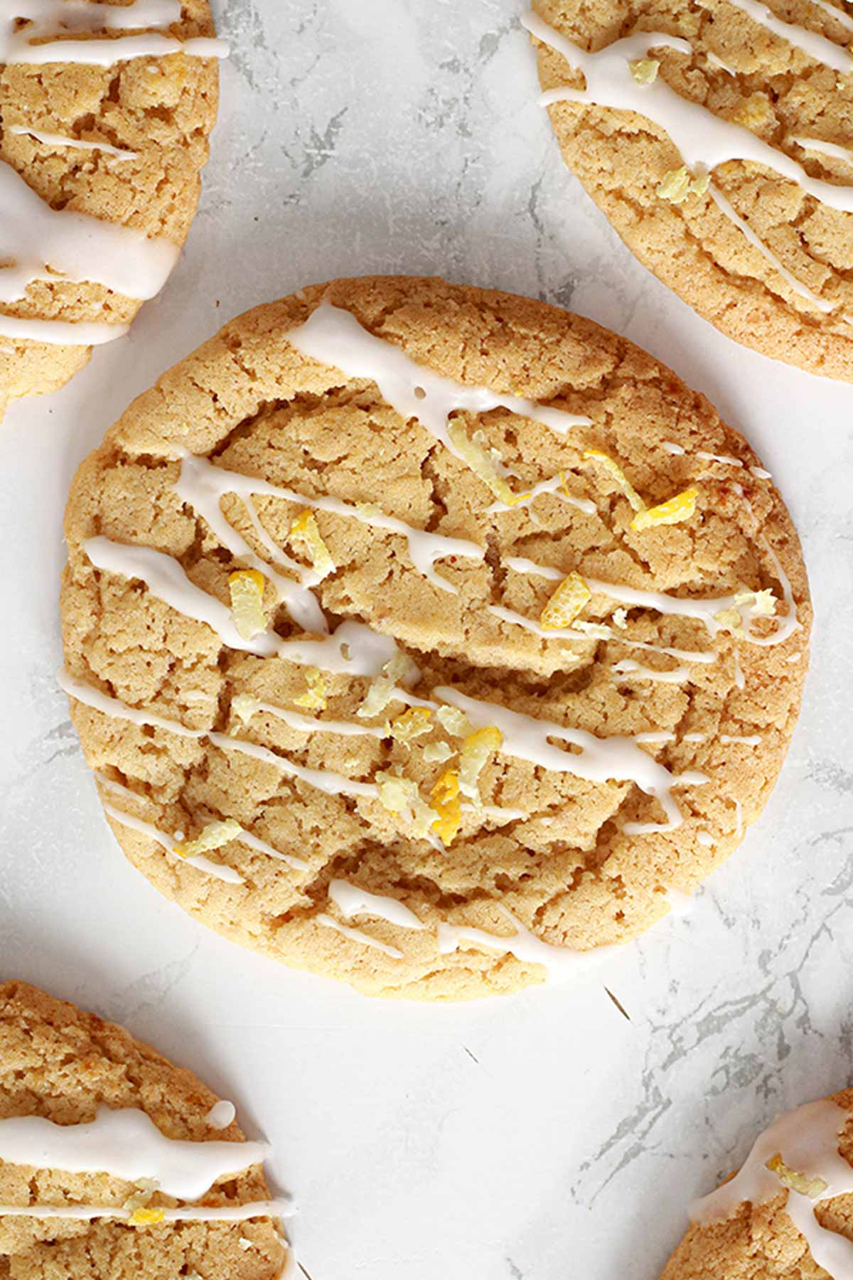 Lemon Drizzle Cookies Laid Out On White Surface