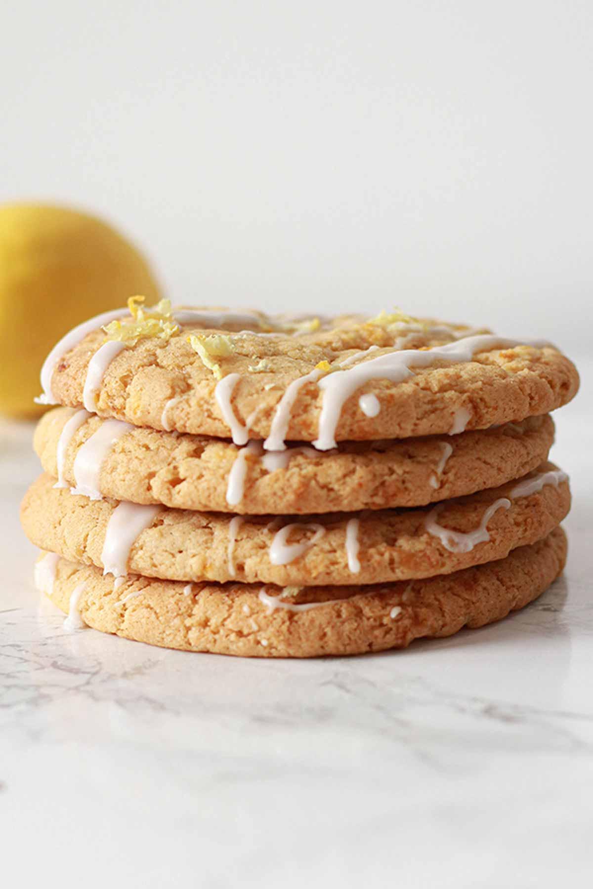 Stack Of 4 Lemon Drizzle vegan Cookies