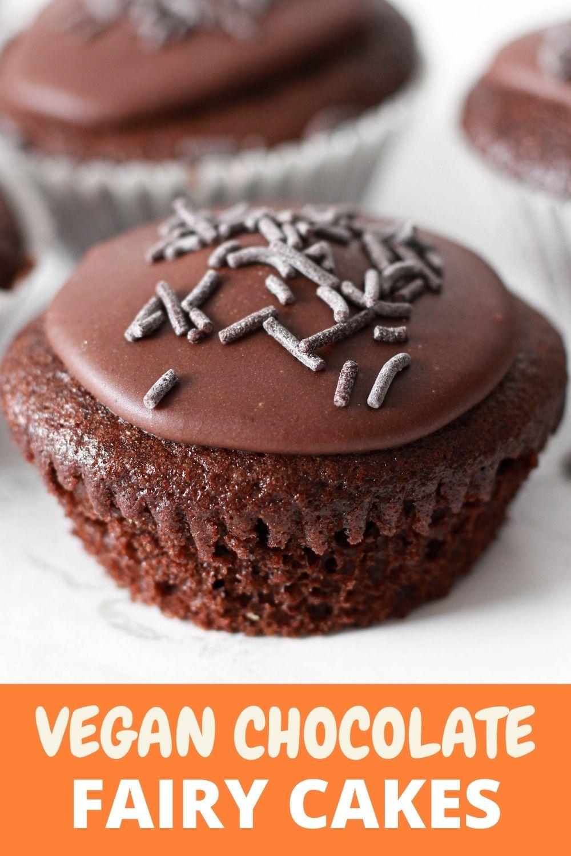 Chocolate Fairy Cakes Pinterest pin image