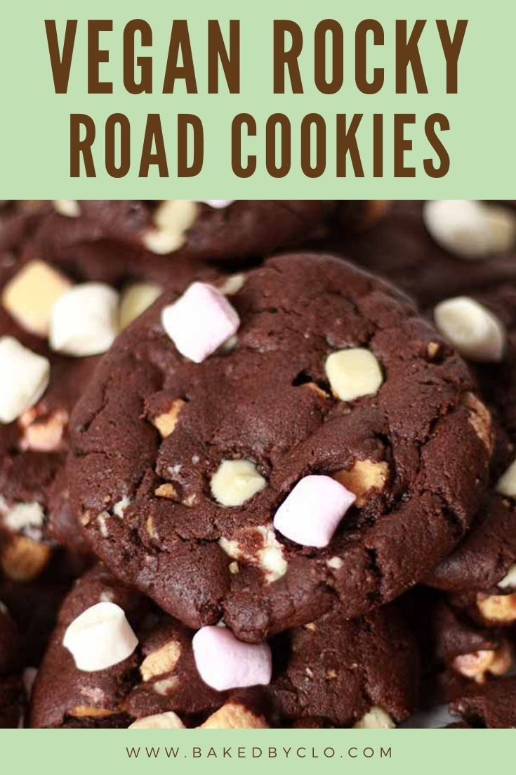 Pinterest Pin With Image of Vegan Rocky Road Cookies