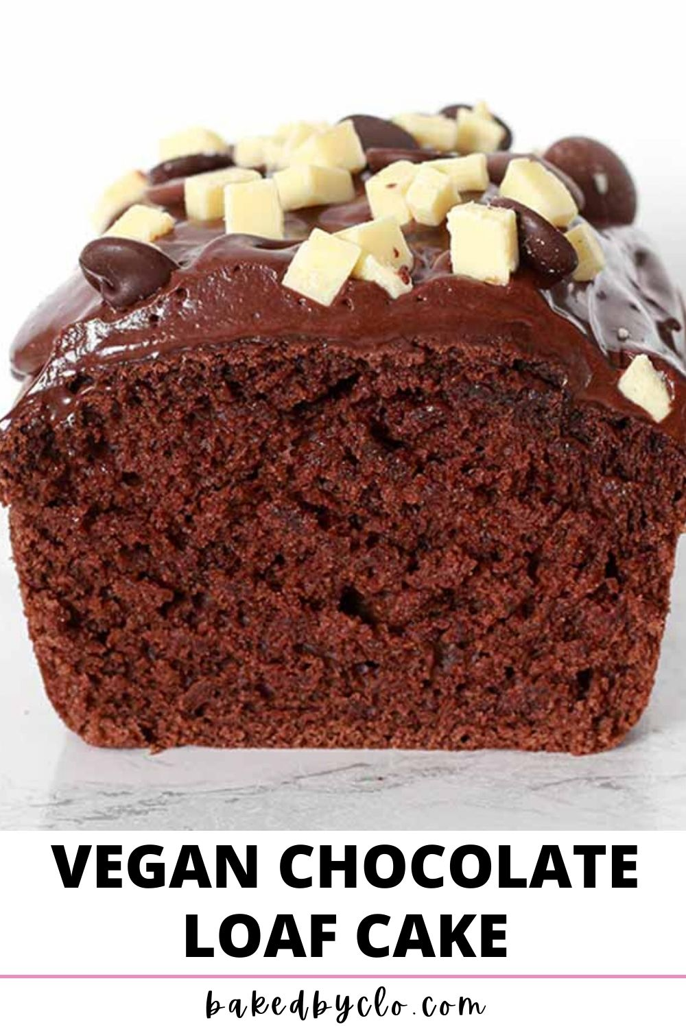 Pinterest Pin of the front of the chocolate loaf cake