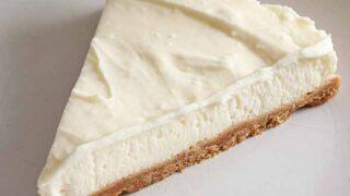 Slice Vegan Vanilla Cheesecake On A White Plate
