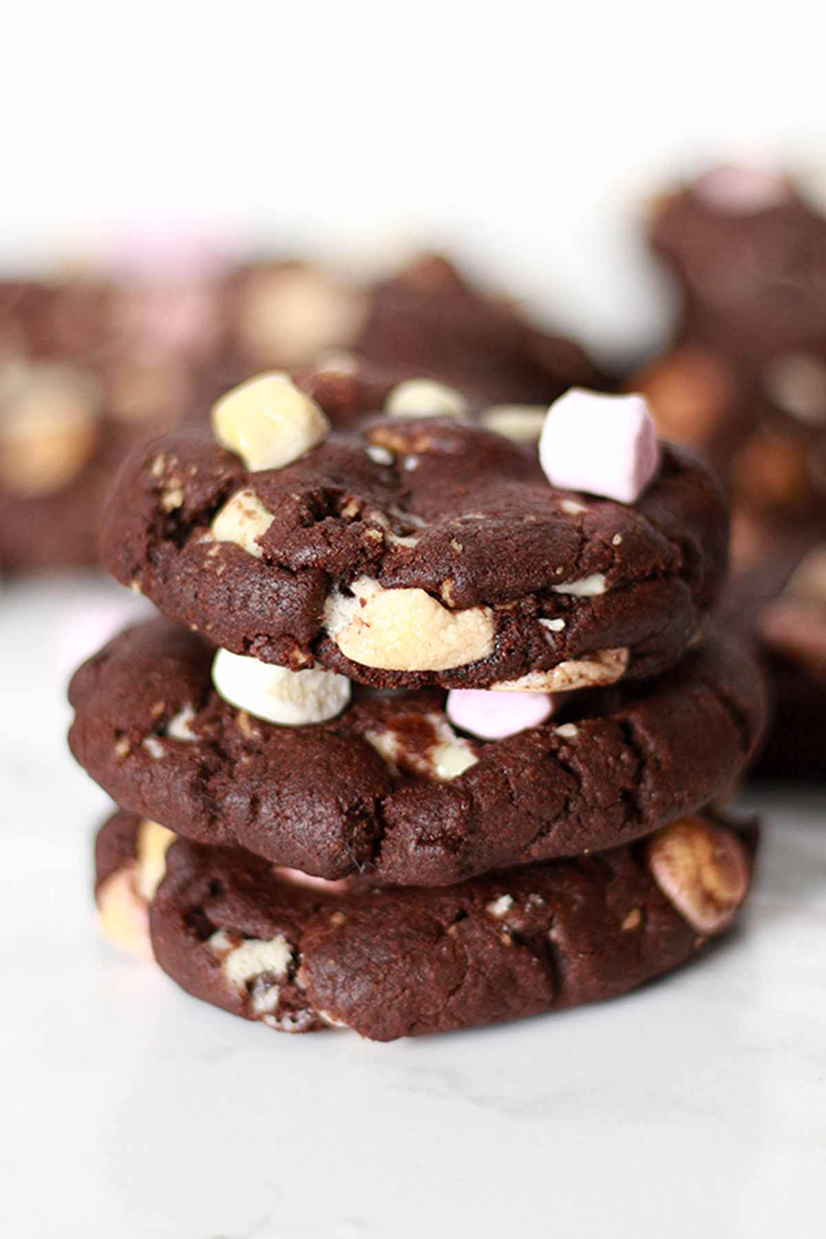 Stack Of 3 Vegan Chocolate Marshmallow Cookies