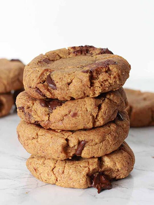 Thumbnail Image Stack Of Almond Butter Cookies With White Background