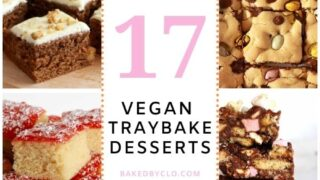 Pinterest pin with images of multiple vegan tray bakes