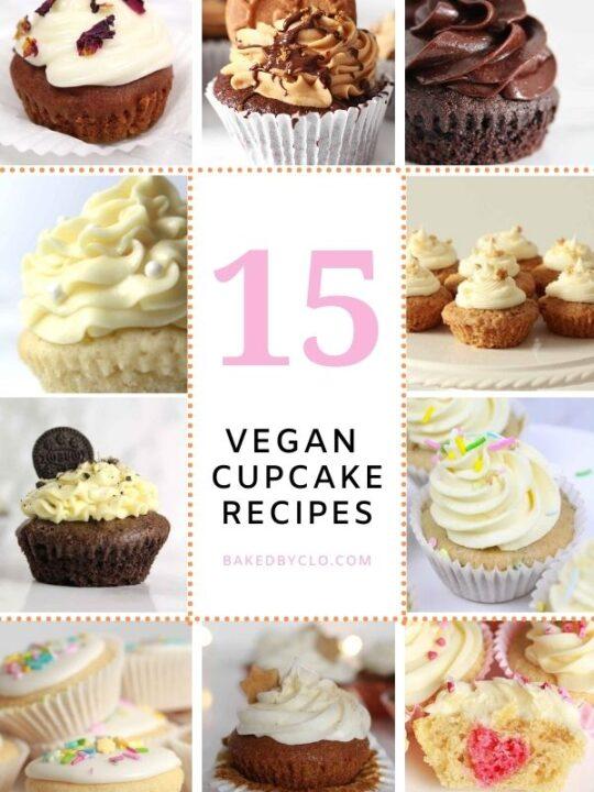 Pinterest pin with various vegan cupcake images on it