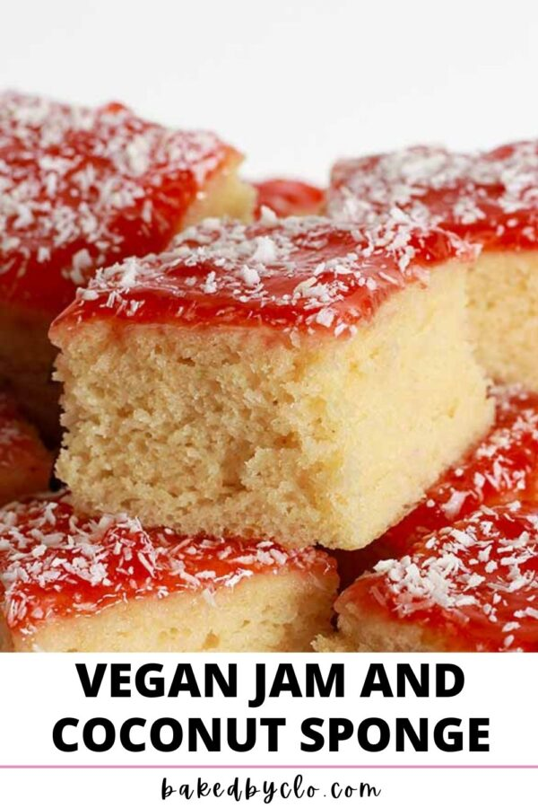 Pinterest pin with image of sponge cake with jam and coconut on top