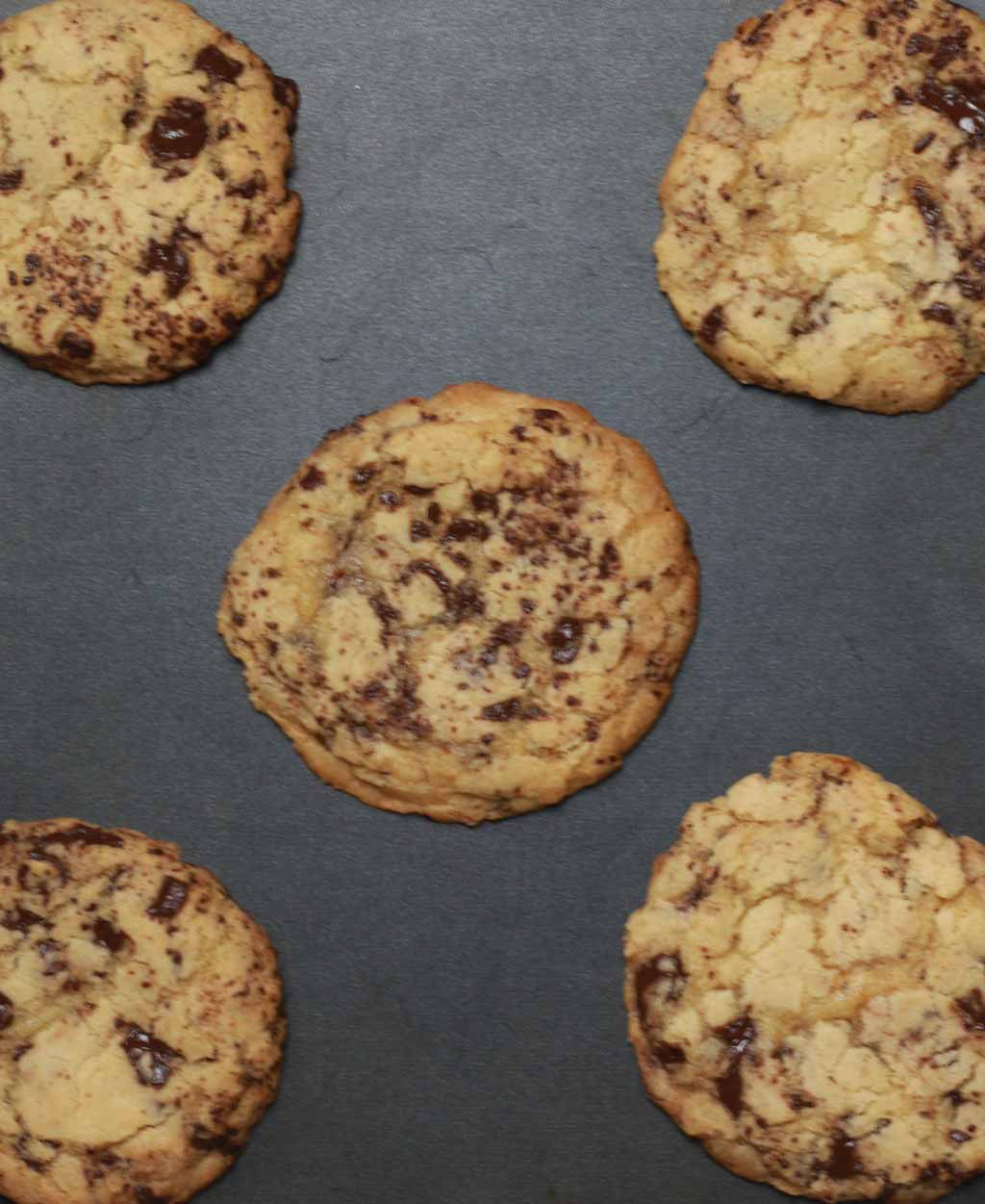 Baked Cookies On A Black Tray