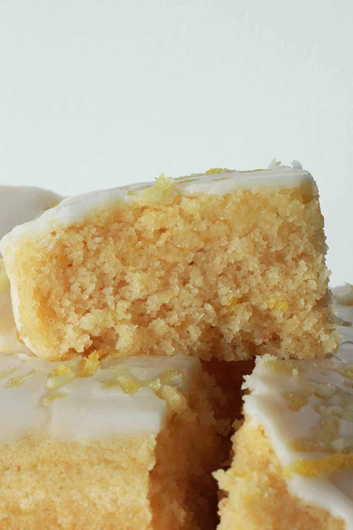 Square Slices Of Lemon Drizzle Cake