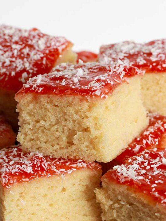 Thumbnail Image Of Jam And Coconut Sponge Cake Slices